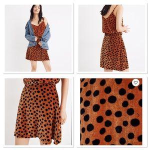 Madewell Leopard Dot Velvet Circle Mini Skirt